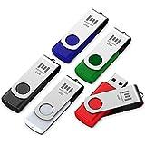 5 X MOSDART 32GB USB 2.0 Flash Drive Swivel Bulk Thumb Drives Jump Drive Zip Drive Memory Sticks with Led Indicator,Black/Blue/Red/White/Green(32 GB,5 Pack Mix Color)