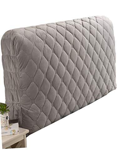 Stoff Stepp All-inclusive Kopfteilbezug Massivholzbett Kopfstütze Bedside Decoration Protector Staubschutz Waschbar,Grey-200 * 60cm