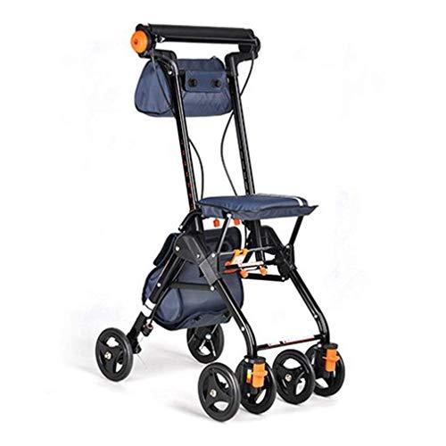 SFSGH Andador con Andador, ayudas para Caminar, 4 Ruedas, portátil, Plegable, Andador con Andador con Asiento, Andador con Ruedas médico, Sistema de Doble Freno