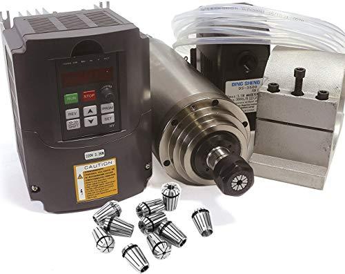 RATTMMOTOR 2.2kW 220V Wassergekühlter Spindelmotor mit 14 Stück ER20 Spannzangen und VFD Frequenzumrichter und 80mm Spindelmotor Halterung Clamp und 75W Wasserpumpe mit 6M Rohr für CNC Fräsmaschine