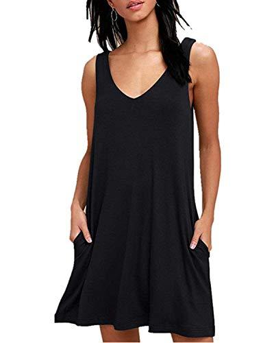Abravo Mujer Vestido Estampado Floral sin Mangas Vestido Casual Corto Playa con un Bolsillo,Z-Negro,M