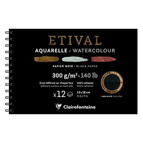 Clairefontaine 975325C Blocco spiralato ETIVAL AQUARELLE NOIR 12x18 12F 300g grana fine/grana ruvida. nero