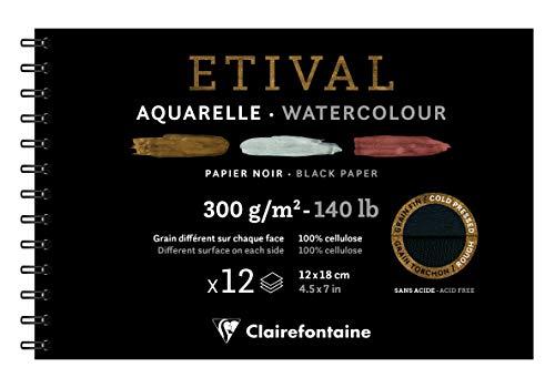 Clairefontaine 975325C – Spiralalbum für Zeichenpapier, Etival, 12 Blatt, 12 x 18 cm, 300 g, doppelte Körnungen (Vorderseite fein und Rückseite mit Papierkorn), Schwarz