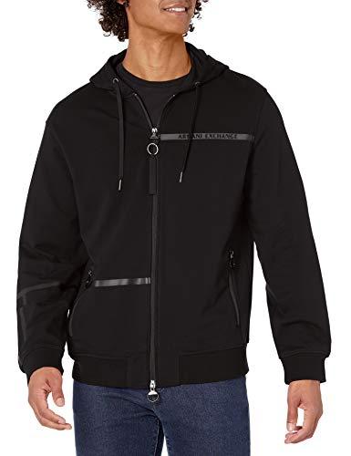 ARMANI EXCHANGE Sweatshirt Felpa con Cappuccio, Nero, XL Uomo