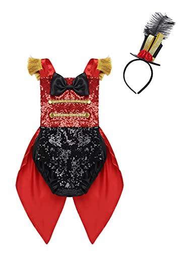 Freebily Disfraz Maestro para Nias Disfraz Circo Ceremonias Boda Traje Costume Lentejuelas para Fiesta Halloween Carnaval Infntil 6 Meses a 4 Aos Rojo B 6-12 Meses