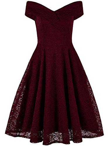 VIJIV Great Gatsby Dresses for Women Roaring 20's V Neck Vintage Lace Off-The-Shoulder Evening Cocktail 1920s Flapper Dress Red US 16