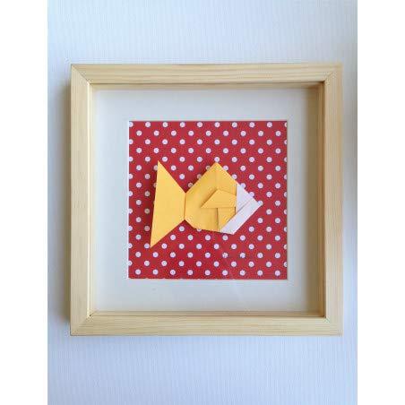 Alfred & Compagnie Cadre origami poisson jaune et rouge 20x20cm