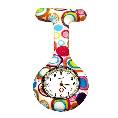 Reloj de broche duradero Reloj de bolsillo con clip Fob cuarzo Broche Enfermera reloj colgante de las mujeres unisex de goma de silicona Enfermero Doctor Paramédico Médico ( Color : Multicolor )