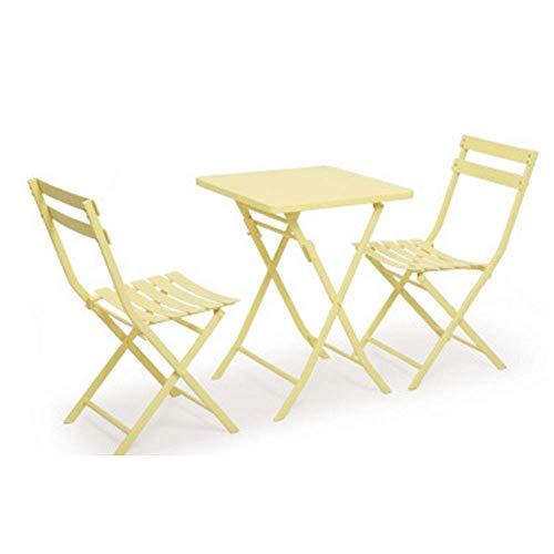 Living Equipment Sgabello per divano Set pieghevole Tavolo 2 sedie Mobili da giardino per giardino Balcone veranda Outdoor Bistro Cafe Scrivania in metallo nordico per amici in chat (Colore: rosa)