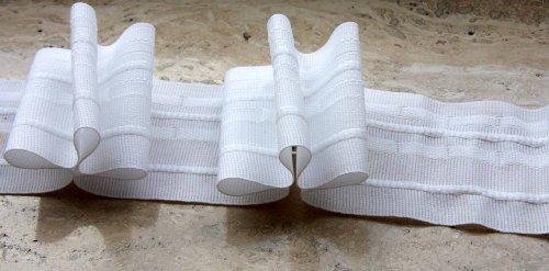 Gardinenband,Faltenband 2,5:1, 60 mm,weiß, 10,0 lfm