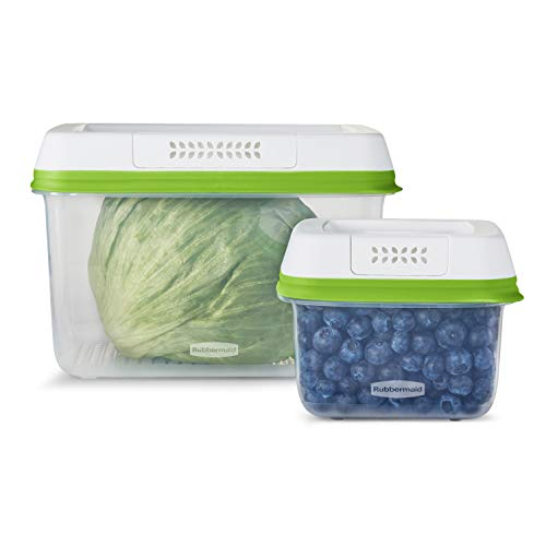 Rubbermaid FreshWorks Saver, Medium and Large Produce Storage Containers, 4-Piece Set