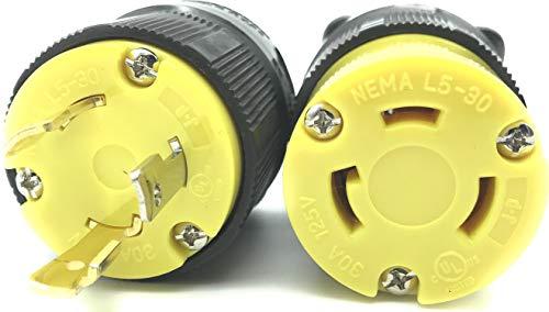 Journeyman-Pro 30 Amp, Plug & Connector Set, NEMA L5-30R & L5-30P, 125V, Locking Plug Socket, Black Industrial Grade, Grounding 3750 Watts Generators (L5-30PR PLUG SET)