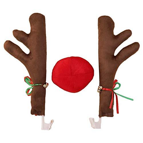 XONOR Christmas Car Astas, astas de Reno con Nariz de Reno de Felpa para la Parrilla del Coche, Disfraz de Orejas de Reno para Navidad - Set Completo con 2 astas y 1 Nariz de Reno (Marrón Oscuro)