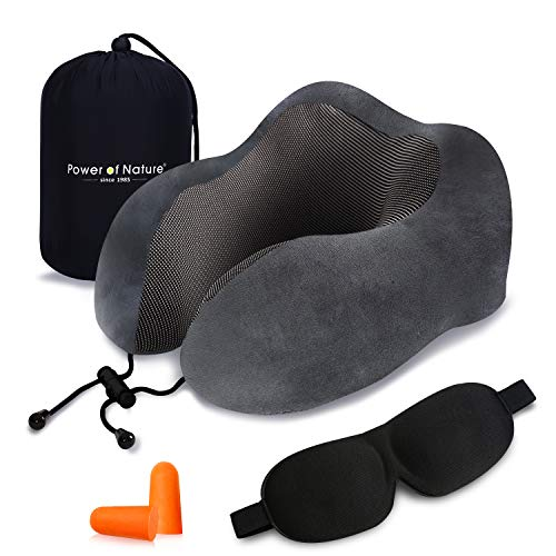 PON Almohada de Viaje Viscoelástica de Espuma de Memoria con Funda Lavable y Bolsa de Viaje Suave para el Cuello Soporte Cervical Ideal para el Uso del Avión y el Hogar (Gris)
