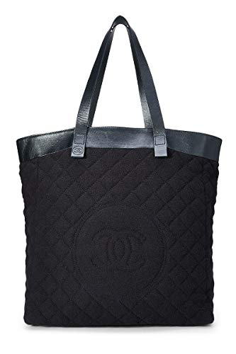 CHANEL Black Terry Cloth Tote Large (Renewed)