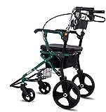 2 in 1 Folding Rollern Walker, 4-Rad Medical Roller Walker mit justierbarer Handgriff und Ablagekorb, Geeignet for Erwachsene, Senioren und Menschen mit Behinderungen, Aluminium Gewicht 330 lbs -