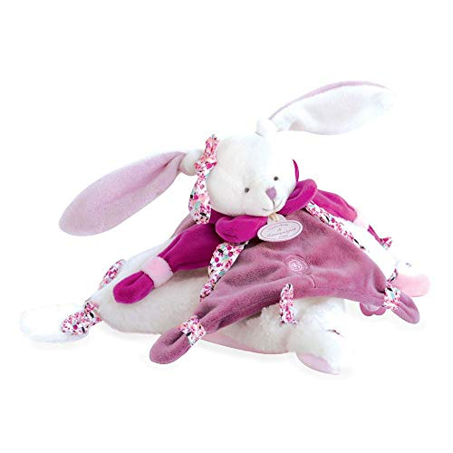 Hoogwaardige pluche haas ca. 25 cm met knuffeldoek en harthanger op leren band extreem zacht pluche om te knuffelen (violet)