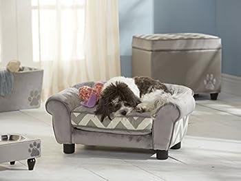 Hundesofa und Katzensofa Deluxe Lit pour chien déhoussable avec sacoche de rangement et châssis en bois, gris, largeur 70cm