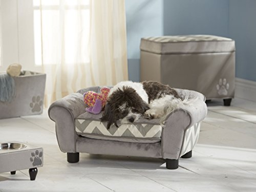 Dog Sofa - Cuddling paradise Dog Bed in beige with storage bag at the back and the removable cushion can be washed for a good night's sleep without a risk of draught - 70 cm-wide wooden frame construction