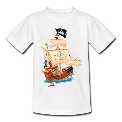 Spreadshirt Käpt'n Sharky Schiffscrew Kinder T-Shirt, 110-116, Weiß