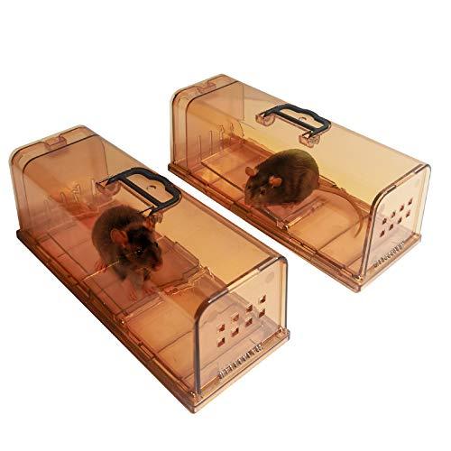 ALIFOR 2X Trampa para Ratones,Ratonera Ratas Vivos Trampa para Ratas Ratonera de Plástico Reutilizable para Cocina Jardín Hogar Cocina Ático Garaje (marrón)