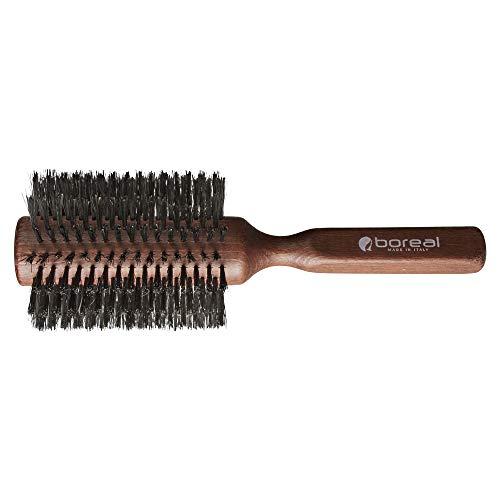 Cepillo para el pelo antiestático de haya barnizada. Rodillo gigante en pura cerda de jabalí. Diámetro de 76 mm. Producido enteramente en Italia.