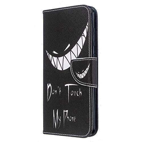 Sony Xperia L4 Hülle Leder Flip Stoßfest Handyhülle für Sony Xperia L4 mit Magnetverschluss Ständer Kartenhalter Geld Tasche Folio Weiche Silikon Bumper Schutzhülle Mädchen Dont Touch My Phone