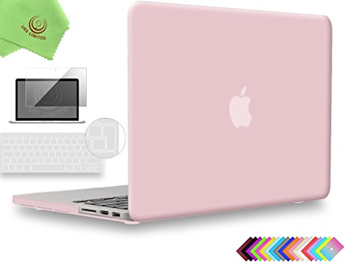 UESWILL 3in1 Smooth Touch Matte Hard Shell Case Cover for MacBook Pro 15 inch with Retina Display (Model:A1398) + EU/UK Version Clear Keyboard Cover and Screen Protector, Rose Quartz