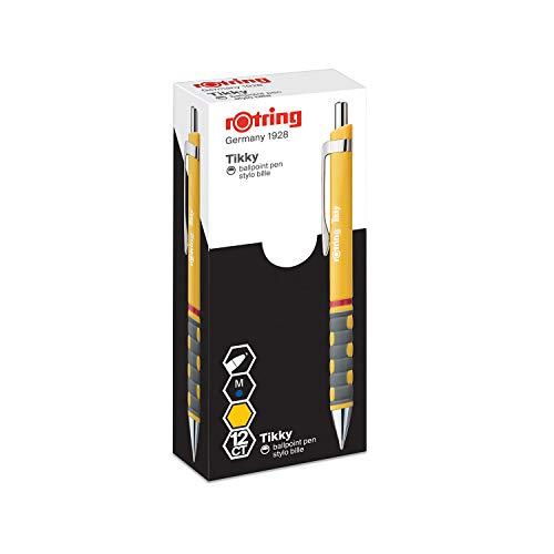 rOtring Tikky balpen (vederlicht, rubberen handvat) 12-delige doos gele schacht