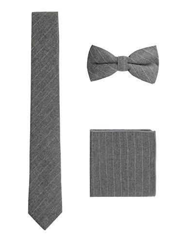 WANYING WANYING Herren Baumwolle 6cm Schmale Krawatte & Gebundene Fliege & Einstecktuch 3 in 1 Sets Trendmode Casual - Gestreift Weiß Dunkelgrau