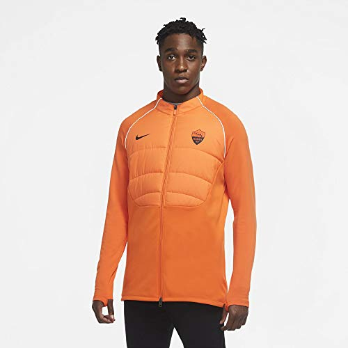 Nike AS Roma Trainings-Sweatshirt, gepolstert, neonorange, 2020-21 (L)