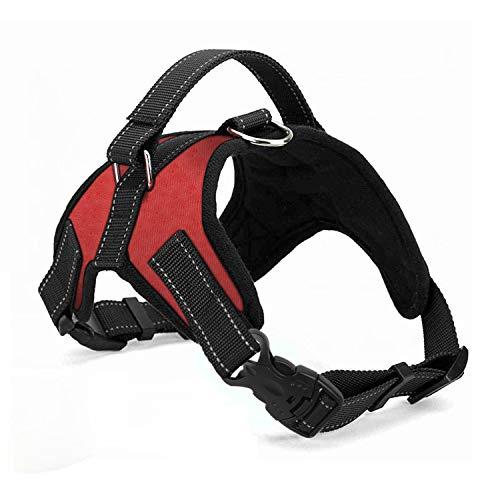 Wodondog Arnés para Perros Reflectantes Cómodo Transpirable Chaleco Acolchado Ajustable Arnés para Perros Grandes Medianos Pequeños (L, Rojo)