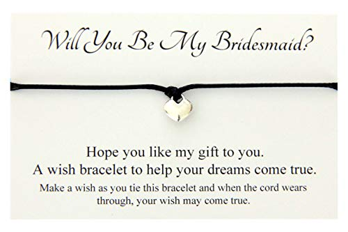 Will You Be My Bridesmaid wedding Heart wish bracelet,Hen Party favour card Gift Bag (Black)
