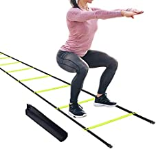 12 Fixed Rungs Agility Ladder with Stakes, Footwork Equipment Speed Training Ladder for Exercise Fitness