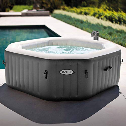 Intex 28413WL PureSpa 4 Person Fiber-Tech Construction Portable Octagonal Inflatable Hot Tub Spa with 120 Bubble Jets, Gray