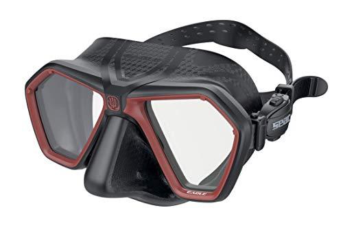 SEAC Eagle Mascara para apnea y Pesca submarina, Unisex-Adult, Negro/Rojo, One Size