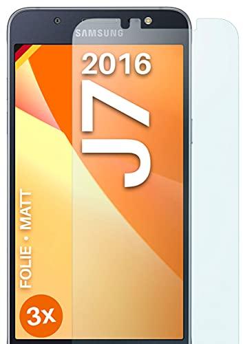 moex Schutzfolie matt kompatibel mit Samsung Galaxy J7 (2016) - Folie gegen Reflexionen, Anti Reflex Bildschirmschutz, Matte Bildschirmfolie - 3X Stück