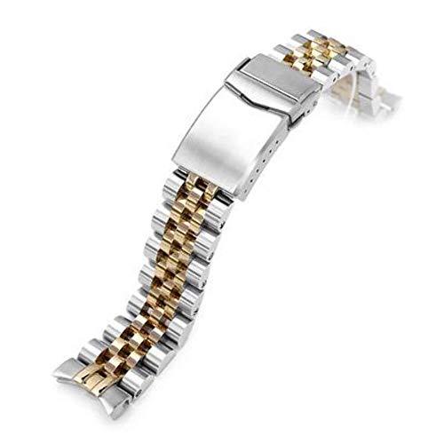 Cinturino per orologio con cinturino 20mm Orologio da polso in acciaio inossidabile 316L ANGUS Jubilee per Seiko Alpinist SARB017 (o Hamilton K.), spazzolato con chiusura a V centrale IP oro