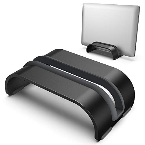 Vertical Laptop Tablet Stand, Klearlook (Space Saver Series) Aluminum Space-Saving Storage Holder Desk Organizer Compatible with Macbook/iPad and more Notebook Tablet UP to 0.7-In Thick - Black