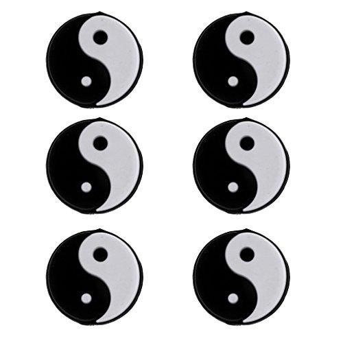 6 Pezzi Ammortizzatori Yin Yang Silicone Anti-Vibrazione Racchetta dI Tennis Accessori - Nero Bianco
