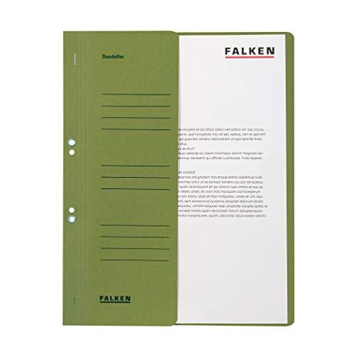 Original Falken 50er Pack Ösenhefter. Made in Germany. Aus Recycling-Karton mit halbem Vorderdeckel und kaufmännischer Heftung für DIN A4 grün Hefter Sammelmappe Blauer Engel