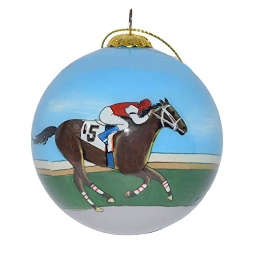 Hand Painted Glass Christmas Ornament - Racehorses w/Jockeys Kentucky