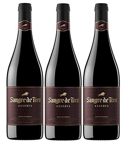 Sangre de Toro Reserva, Vino Tinto - 3 botellas de 750 ml, Total: 2250 ml