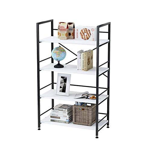 Tribesigns Triple Wide 5-Shelf Bookcase, Etagere Large Open Bookshelf Vintage Industrial Style Shelves Wood and Metal bookcases Furniture for Home & Office , All White