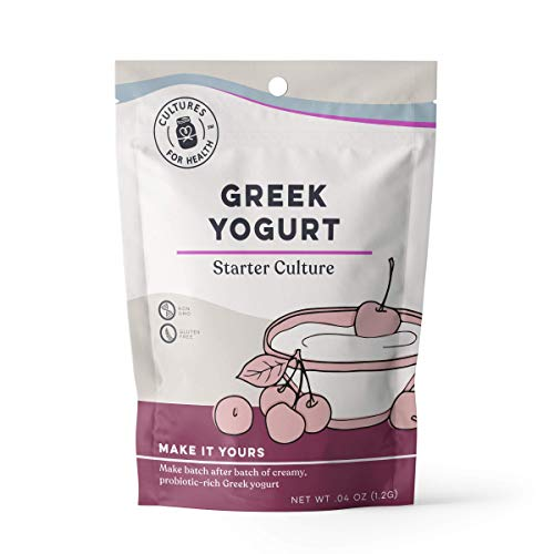 Greek Yogurt Starter Culture | Cultures for Health | Non GMO, Gluten Free | Makes Tart, Creamy Greek Yogurt