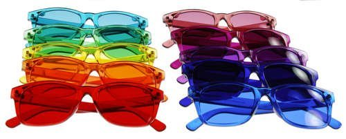 New Classic Style Color Therapy Glasses - Set of 10