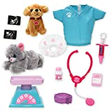 Beverly Hills Doll Collection Pet Veterinarian 12 Piece Dr. Dolly Vet Pretend Playset for 18 Inch Dolls with a Plush 6 Inch Dog, Cat and Accessories