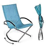 Park Alley Relax Schaukelstuhl Garten (blau) - bequemer Outdoor Schaukelsessel für Balkon oder Garten, klappbar und einfacher Aufbau, Maße: 90 x 70 x 98 cm