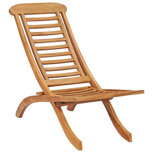 Festnight Folding Garden Chairs Sun Loungers for Garden, Terrace or Patio Solid Teak Wood