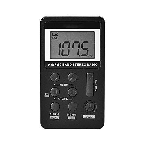 Bdesign Mini Radio, Pantalla LED Conferencia multifunción Tasa de Baja Falla de Baja sensibilidad Búsqueda automática de bajo Consumo de energía, Conveniente para Escuchar la Radio (Color : Black)